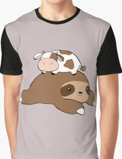 Sloth and Tiny Cow Graphic T-Shirt