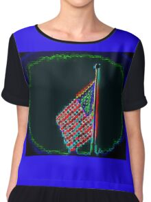 COOL ABSTRACT AMERICAN FLAG Chiffon Top