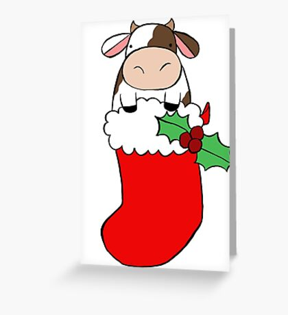 Christmas Stocking Cow Greeting Card