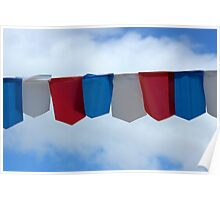 Blue Red and White Flags Poster