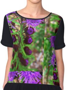 Bumble Bee and Purple Flower Chiffon Top