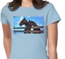 Twin Horses Womens Fitted T-Shirt