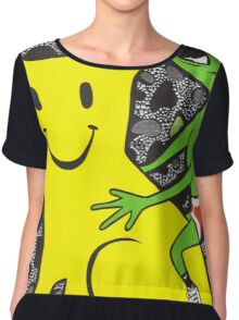 Smiley Face Cat and Alien Chiffon Top