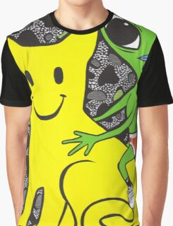 Smiley Face Cat and Alien Graphic T-Shirt