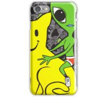 Smiley Face Cat and Alien iPhone Case/Skin