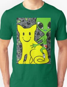 Smiley Face Cat and Alien T-Shirt