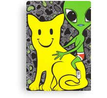 Smiley Face Cat and Alien Canvas Print