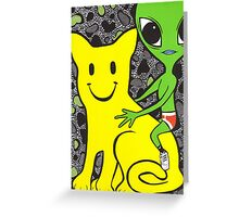 Smiley Face Cat and Alien Greeting Card