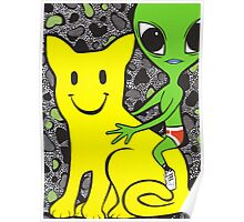 Smiley Face Cat and Alien Poster