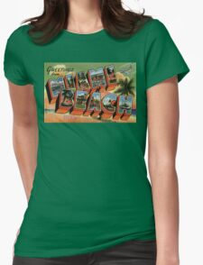 Fifties style Greetings from Miami Beach Womens Fitted T-Shirt
