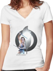 White Canary Women's Fitted V-Neck T-Shirt