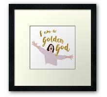 Golden God in White Framed Print
