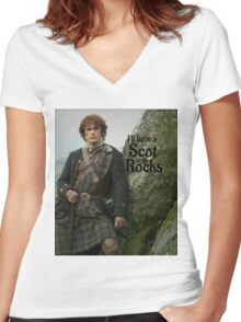 Outlander/ Jamie Fraser/Scot on the Rocks Women's Fitted V-Neck T-Shirt