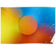 Orange bubble on colourful background. Poster