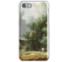 Vintage famous art - Hendrik Goltzius - Road In The Dunes With A Passenger Coach (After The Rain) 1631 iPhone Case/Skin