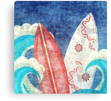 Grunge Surfboards in Ocean Canvas Print