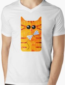 Cat and Bow Mens V-Neck T-Shirt