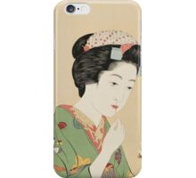 Vintage famous art - Hashiguchi Goyo -  Woman with rouge brush iPhone Case/Skin