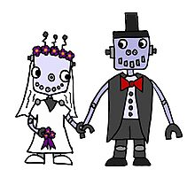 Cool Funky Robot Wedding Photographic Print