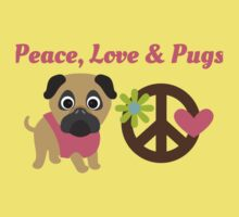 Peace Love and Pugs Kids Tee