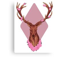 Stag Peaceful In Pink Flowers Canvas Print