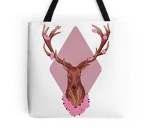 Stag Peaceful In Pink Flowers Tote Bag