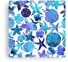 Blue Pochoir Floral Canvas Print