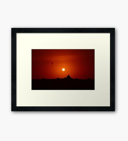 Sunrise Over Small Town Framed Print