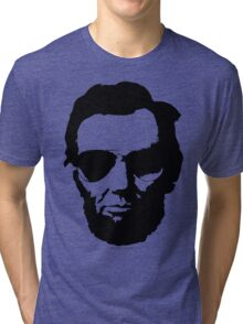 Cool Abe Lincoln with Aviator Sunglasses - Black Tri-blend T-Shirt