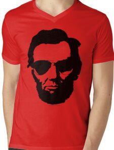 Cool Abe Lincoln with Aviator Sunglasses - Black Mens V-Neck T-Shirt