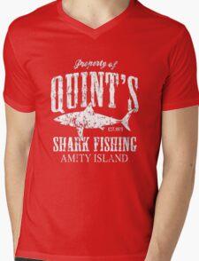 Retro Quint's Shark Fishing Mens V-Neck T-Shirt