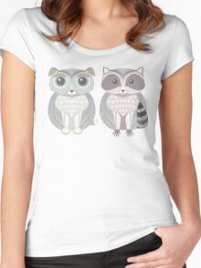 Dog Blue and Raccoon Women's Fitted Scoop T-Shirt