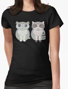 Dog Blue and Raccoon Womens Fitted T-Shirt