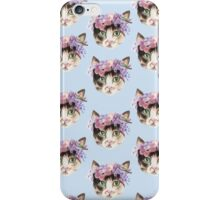 Cat with flowers. Pattern iPhone Case/Skin