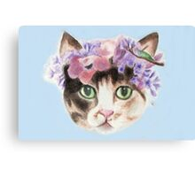 Cat with flowers Canvas Print