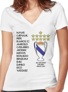 Real Madrid 2016 Champions League Winners Women's Fitted V-Neck T-Shirt