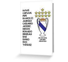Real Madrid 2016 Champions League Winners Greeting Card