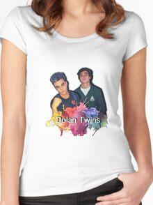 Dolan Twins cartoon paint splat Women's Fitted Scoop T-Shirt