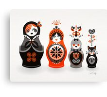 Russian Nesting Dolls – Red & Black Canvas Print