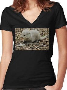 Otterly Beautiful Women's Fitted V-Neck T-Shirt