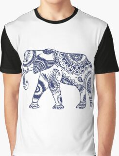 Navy Patterned Elephant Graphic T-Shirt