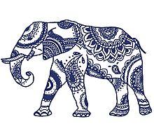 Navy Patterned Elephant Photographic Print