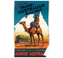 Travel by Trans-Australian Railway Vintage Travel Poster Poster