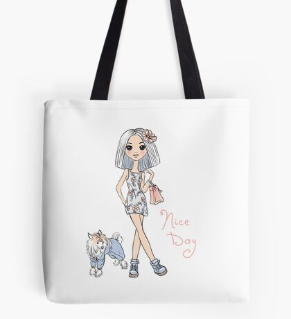 Girl in dress with dog Tote Bag