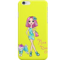 Pop Art girl in dress with dog iPhone Case/Skin