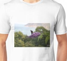 Red admiral on rose bay willow herb, Exmoor backdrop Unisex T-Shirt