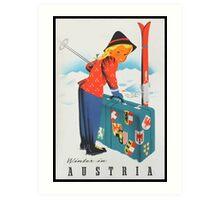 Winter in Austria Vintage Travel Poster Art Print