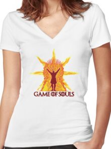 Game of Souls-flame Women's Fitted V-Neck T-Shirt