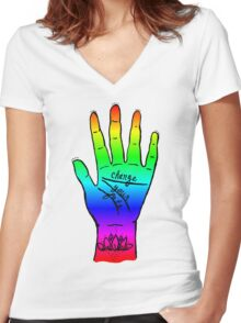 Change Your Fate - Rainbow Hand Women's Fitted V-Neck T-Shirt