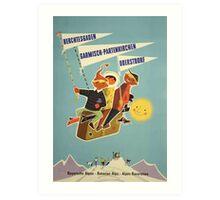 Austria, Germany Bavarian Alps Vintage Travel Poster Art Print